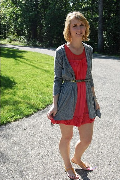 red Forever 21 dress - silver Forever 21 cardigan - gold Nine West shoes - silve