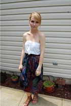 white hollister top - brown Forever 21 belt - purple thrifted skirt - brown Dolc