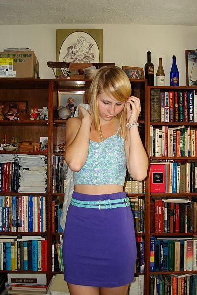 thrifted top - H&M skirt - Roxy belt - hollister sweater