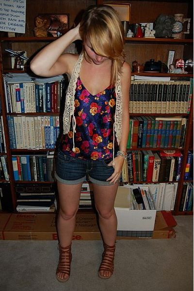 F21 Consignment shop vest - thrifted blouse - f21 shorts - Dolce Vita South Moon