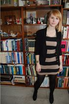 black Forever 21 cardigan - black Forever 21 vest - beige H&M dress - black rand