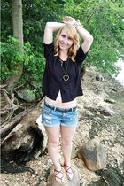 thrifted blouse - Hand Made necklace - forever 21 shorts - forever 21 belt - pay