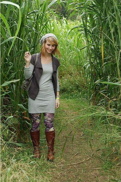 Forever 21 coat - H&M dress - tights - TJMaxx boots - hat