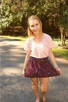 pink thrifted shirt - purple Urban Outfitters skirt - brown Forever 21 belt - br