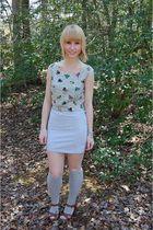 silver vintage sweater - gray H&M skirt - gray Target socks - brown journeys sho