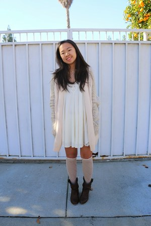 white white dress Forever 21 dress - tan knee high socks PacSun socks