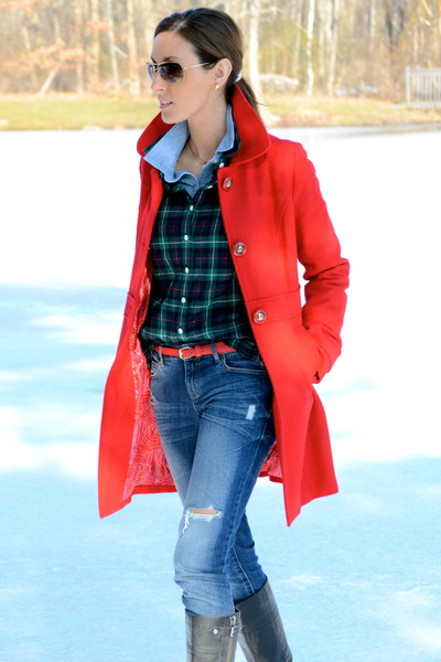 wool pea coat Tulle coat - franco sarto boots - Forever 21 jeans - Old Navy top