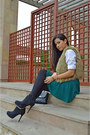 Black-zara-boots-green-h-m-skirt-white-blouse