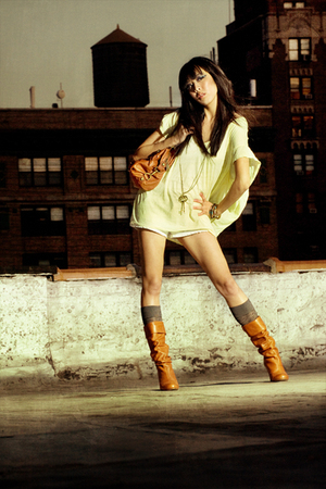 yellow Seneca Rising top - Steve Madden boots - Steve Madden purse - vintage fro