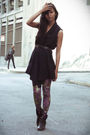 Blue-zara-vest-purple-urban-outfitters-tights-black-mia-boots