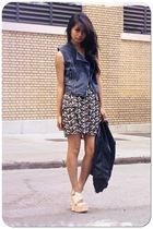 blue Forever 21 vest - black Rory Beca skirt - beige vera wang shoes