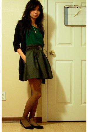 vintage blouse - Goodwill belt - Little Rooms accessories - Gap sweater
