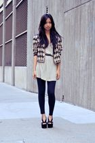 black Forever 21 leggings - black Jeffrey Campbell shoes - gold vintage jacket
