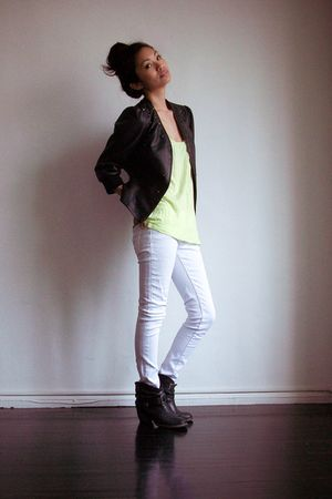 black Forever 21 jacket - green Nordstrom shirt - white intermix jeans - black M