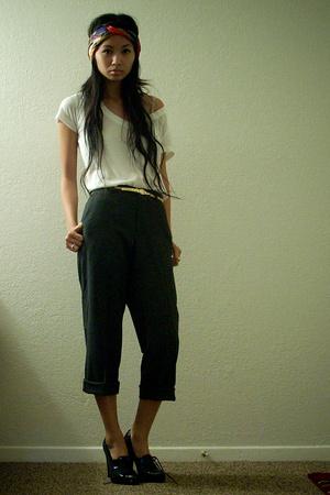 vintage scarf - f21 shirt - vintage belt - calvin klein pants - Steve Madden sho