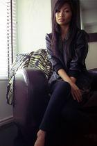 black Forever 21 jacket - black Forever 21 leggings - brown thrifted vest