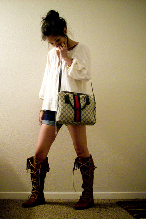 Kersh shirt - Minnetonka shoes - Gucci purse - coach bracelet
