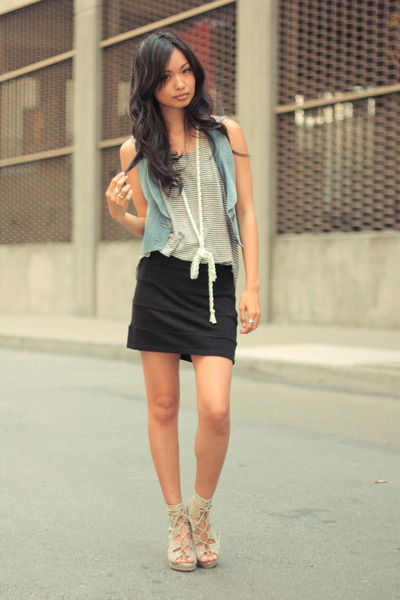 Karl Lagerfeld Blue Vest Alternative Apparel Striped Tank Blue Shirt Larok Black Skirt Jeffrey Campbell Gray Shoes