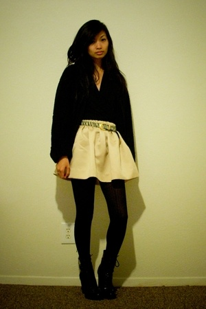 sweater - top - By Me skirt - Guess boots - belt