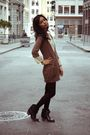 Brown-gap-cardigan-beige-free-people-dress-black-urban-outfitters-tights-b