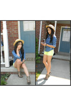 neon lime shorts - hat - heels