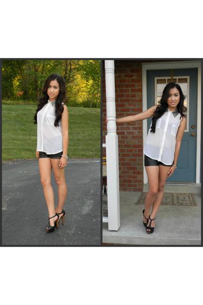white blouse - black leather shorts - heels