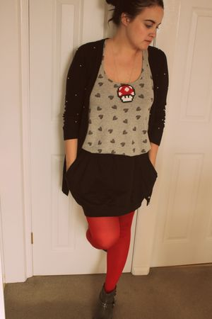 red Marks &amp; Spencer tights - black asos skirt - gray new look vest - black new l
