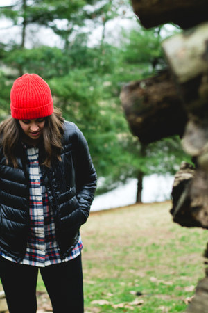 red beanie Jcrew hat - black puffer Jcrew jacket - white flannel Jcrew shirt