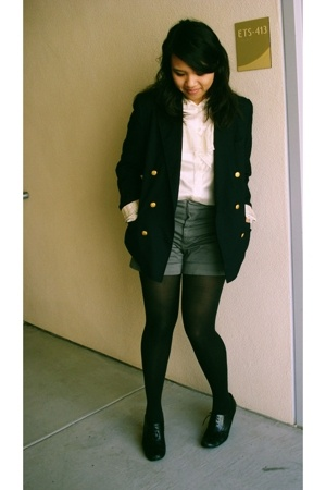thrifted blazer - vintage from Search & Destroy blouse - Old Navy shorts - exhil