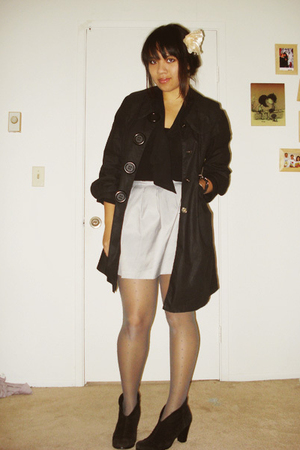 black Gap blouse - black Aziz coat - silver forever 21 Forever 21 skirt