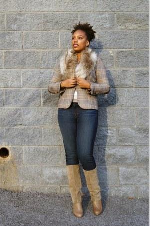 faux fur H&M scarf - Nine West boots - j brand jeans - elbo patch Zara blazer