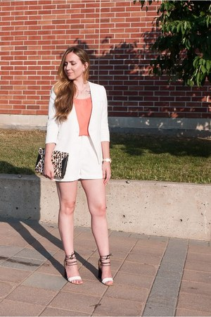 white Chicwish blazer - white Chicwish shorts - white ghillies heels