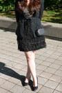 Feathers-bootlegger-dress-forever-21-blazer-glitter-smart-set-bag