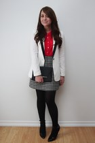 tuxedo Forever 21 blazer - Urban Planet blouse - houndstooth Suzy Shier skirt