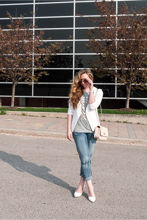 white Chicwish blazer - girlfriend H&M jeans - neutral quilted Express bag