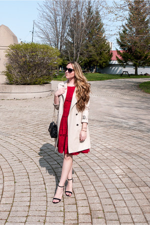 red eyelash lace Forever 21 dress - beige trench Suzy Shier coat
