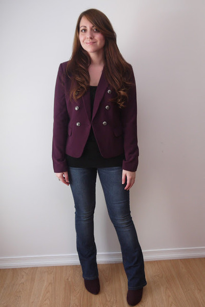 deep purple Forever 21 jacket - deep purple Avon boots - Bootlegger jeans