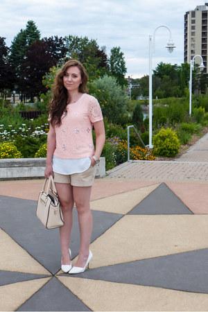 light pink lace Suzy Shier top - beige christian lacroix bag