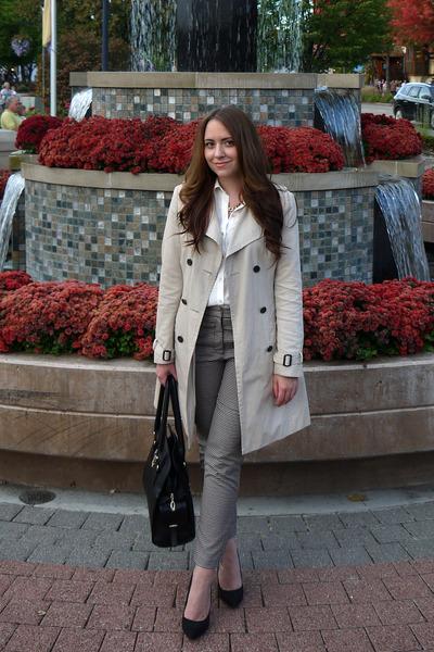 Suzy Shier coat - JustFab bag - H&M blouse - JustFab pumps - H&M pants
