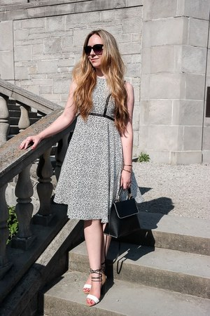 white printed H&M dress - black H&M bag - white ghillies heels