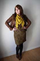 tweed Nordstrom Rack skirt - leather Walmart jacket - oxfords Payless heels