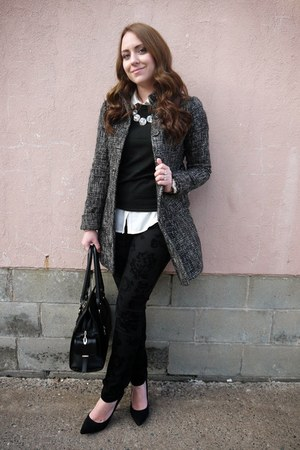 black velvet floral Maurices pants - Forever 21 coat - JustFab bag