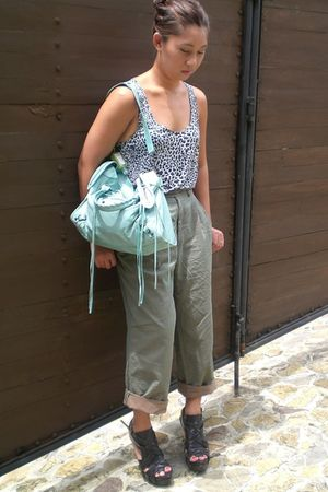 green lanvin pants - black Zara shoes - Willow & Jack - blue balenciaga bag