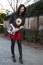 black studded sam edelman boots - black striped asos bag