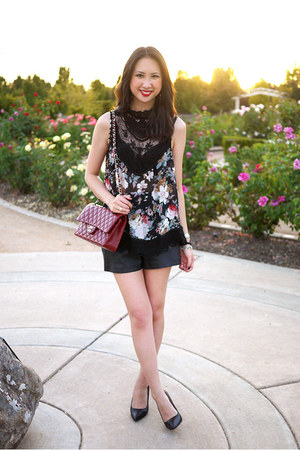 black lace Nasty Gal top - black faux leather Zara shorts