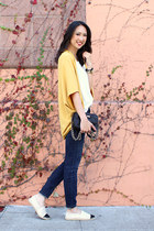 mustard JYJZ sweater - navy skinny Current Elliot jeans - black kate spade bag