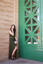 olive green maxi dress Lush dress - off white clutch Rebecca Minkoff bag