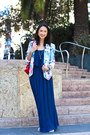 Blue-maxi-dress-forever-21-dress-light-blue-floral-target-blazer