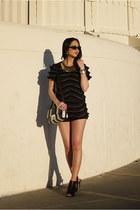 black Vince Camuto boots - white asos bag - black salsit shorts
