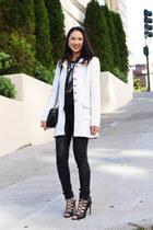 white Francescas Collections coat - black kate spade bag